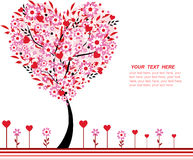 Valentine tree with flowers and hearts Stock Photos
