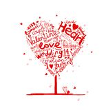 Valentine tree heart shape for your design Royalty Free Stock Photos