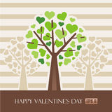 Valentine tree with hearts Stock Image