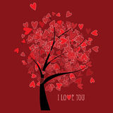Valentine tree with hearts Stock Photo