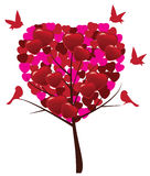 Valentine tree with hearts and birds Stock Photography