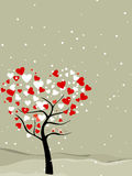 Valentine tree with hearts & love birds. Valentine tree with hearts shape, snow flakes & love birds, greeting card for valentines day royalty free illustration