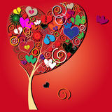 Valentine tree with hearts Stock Images