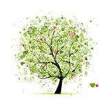 Valentine tree with hearts for your design stock illustration