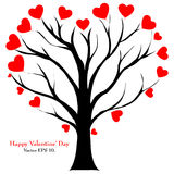 Valentine Tree with Love Heart, Vector Illustratio Stock Photos