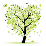 Valentine tree, love, leaf from hearts Stock Image