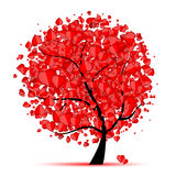 Valentine tree, love, leaf from hearts Stock Images