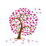 Valentine tree, love, leaf from hearts. Falling stock illustration