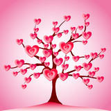 Valentine tree, love, leaf from hearts Stock Photos