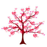 Valentine tree of love with leaf from hearts Royalty Free Stock Photos