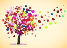Love tree rainbow, Valentine tree, Leaf from hearts vector illustration