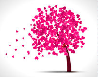 Valentine tree with pink hearts for your design Stock Images