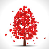 Valentine tree with red falling hearts for your design stock illustration