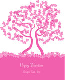 Valentine tree silhouette with hearts. Colorful romantic illustration of valentine tree with pink hearts isolated on white background Stock Photography