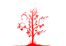 Valentine Tree1. A red valentine tree with many heart, vector illustration royalty free illustration