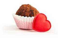 Valentine truffle. Valentine chocolate truffle on white background Royalty Free Stock Photography