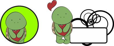 Valentine turtle cartoon heart hug copyspace Stock Images