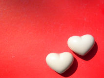 Valentine two hearts background Stock Photos