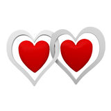 Valentine. Two hearts close to each other Royalty Free Stock Photography