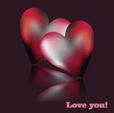 Valentine and two violet hearts Royalty Free Stock Photos