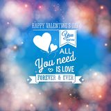 Valentine typography design. Background with bokeh Stock Photography
