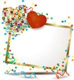 Valentine-uithangbord met harten Stock Foto