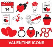 Valentine or Valentines Day set, pack or collection. Concept for love, passion with hearts, bouquet, calendar, postcard, letter and mobile phone. Also vector illustration