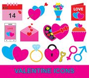 Valentine or Valentines Day set, pack or collection. Concept for love, passion with hearts, bouquet, calendar, postcard, letter and mobile phone. Also royalty free illustration