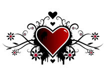 Valentine Vector. Valentine's day vector image with ink splats and vines. Funky and retro image Royalty Free Stock Photo