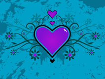 Valentine Vector. Valentine's day vector image with ink splats and vines. Funky and retro image Stock Photo