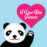 Valentine Vector Card With Cute-Panda Lizenzfreie Abbildung
