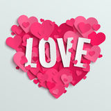 Valentine vector illustration postcard, love text on pink paper hearts Stock Image