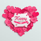 Valentine vector illustration postcard, romantic text on pink paper hearts. Background Stock Photo