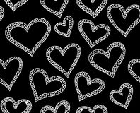 Valentine vector seamless pattern with ornamental hearts Stock Image