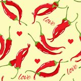 Valentine vector seamless pattern with red pepper Royalty Free Stock Photo