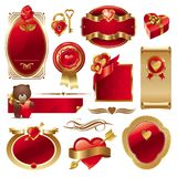 Valentine vector set. Vector set theme of valentine inspired designs in red and gold isolated on a white background, including ornate frames and hearts Royalty Free Stock Photography