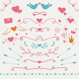 Valentine vector set. Valentine's day collection: set of vector hearts, flourishes, borders and decorative elements Stock Photo