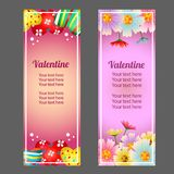 Valentine vertical banner with candy jelly and flower. Colorful valentine vertical banner with candy jelly and flower royalty free illustration
