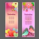 Valentine vertical banner with love flower soft ornate. Cute valentine vertical banner with love flower soft ornate stock illustration