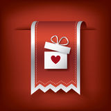 Valentine vertical ribbon or bookmark element for Stock Photo