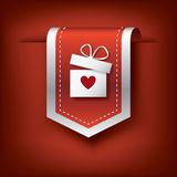 Valentine vertical ribbon or bookmark element for websites and promotion of holiday. Royalty Free Stock Photo