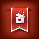 Valentine vertical ribbon or bookmark element for websites and promotion of holiday. Stock Photos