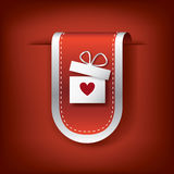 Valentine vertical ribbon or bookmark element for websites and promotion of holiday. Royalty Free Stock Image