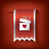 Valentine vertical ribbon or bookmark element for websites and promotion of holiday. Stock Photography