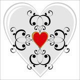 Valentine vignette. Red heart and graphic scrolls Royalty Free Stock Photos