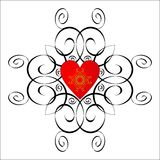 Valentine vignette. Red heart and graphic scrolls on a white background Stock Images