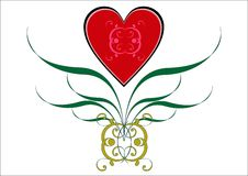 Valentine vignette. Red heart and green leaves on a white background Royalty Free Stock Image