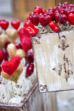 Valentine vintage box with hearts. Valentine decoration - vintage box with hearts stock image