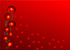 Valentine wallpaper with red lights and heart Stock Photos