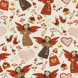 Valentine wallpaper wiht cute angels Stock Photography